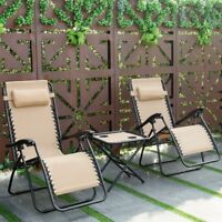 Patio 3Pcs/Set Garden Reclining Lounge Table Chairs Folding Outdoor Furniture