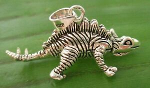 REAL 925 sterling silver 24mmx38mm movable stegosaurus dino pendant - Teen Boy