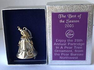 Partridge in a Pear Tree 2005 Cast Metal Bell Pear Bureau Northwest USA Ornament