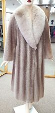 "Beige Nutria Letout 48"" Coat with Tan Glow dyed Fox Large Shawl Collar; Size 10"