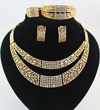 African Jewelry Sets Wedding Gold Crystal Bridal Double Chain Necklace Party Set