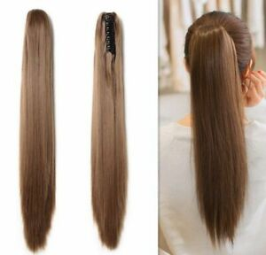 15-22'' Silky Straight Claw Clip in Ponytail 100% Remy Human 8A Hair Extensions