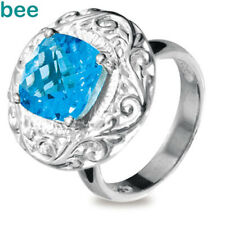 925 Sterling Silver Dress Ring With Genuine Blue Topaz Size P 7.75 35153/BT