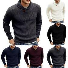 Mens Knitted Long Sleeve Pullover Jumper Casual Plain Sweater Winter Warm Top
