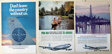 3 x Pan Am American Airline Travel Paris Hawaii  1960 Magazine Print Ads 7 x 10
