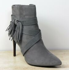M&S Real SUEDE High STILETTO Heel ANKLE BOOTS ~ Size 7.5 ~ GREY