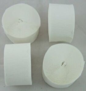 4 White Large Crepe paper EACH streamer 26 metres x 45mm by clikkabox