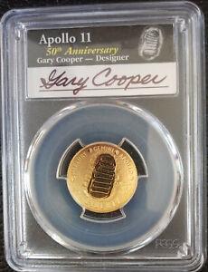 ✰2019-W $5 Gold Coin APOLLO 11 50th Anniversary Gary Cooper Signed PCGS PF70DCAM