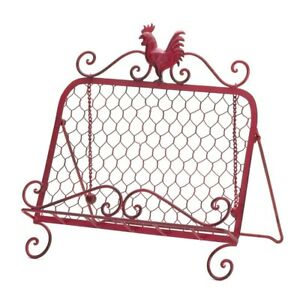 COUNTRY KITCHEN DECOR RED ROOSTER METAL COOKBOOK STAND HOLDER