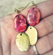 Crazy Lace Agate Hot Pink Cranberry Swirl GENUINE AGATE Textured Gold EARRINGS