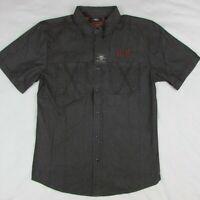 Harley Davidson Men's Washed Short Sleeve Woven Button up Shirt Dark Gray Medium