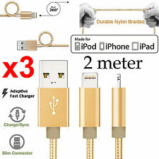 3 2m Apple iPhone 6 7 SE iPad Air Pro braided Strong Fast data charger usb cable