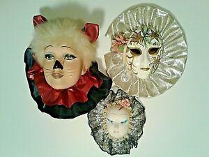 Ceramic Porcelain Masks.     Lot Of 3.     Cat/Flower Party/Geisha