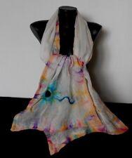Light Felt White Silk Scarf, Multicolor Nuno Felted Shawl, Merino Felting Wrap