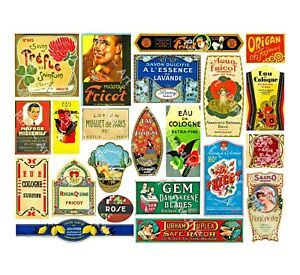 APOTHECARY LABEL Sticker Sheet, 22 Antique Chemist Druggist Label Decor Set