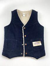 DEADSTOCK Vintage VTG Wrangler Corduroy Vest Sherpa Lined Blue Size L USA!!!