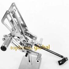 For Kawasaki ZX14R ZZR1400 2006-2013 2007 Silver CNC adjusting Rearset Footpegs