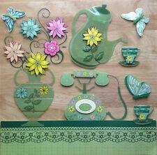 TOP QUALITY 3D Green Afternoon Tea PVC WallSticker Art Decals Coffeeshop Kitchen