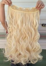 """Light blonde 5 clips one piece wavy curly 22"""" long clip in on hair extension new"""