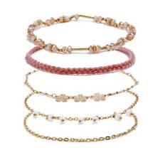 5 Pcs/Set Vintage Women Flower Pearl Cuff Bracelet Bangle Wrist Band Jewelry