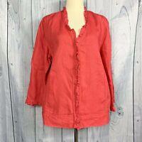 Chico's Womens 100% Linen 3/4  Sleeve Casual Jacket/Blazer Size Medium Coral