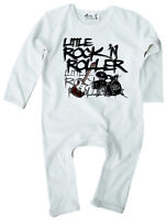"Baby Rock Romper Suit ""Little Rock 'N Roller"" Guitar Drums Band Rock Music"