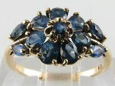 DIVINE 9K 9CT GOLD ALL BLUE SAPPHIRE CLUSTER ART DECO INs RING FREE RESIZE
