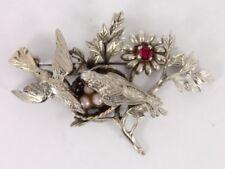 Ruby and Seed Pearl Bird Brooch Sterling Silver Zeeta Vintage 925 10.4g Cn23