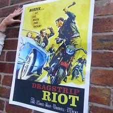 Dragstrip émeute vintage film poster voiture années 50 rock & roll rebel poster-A4