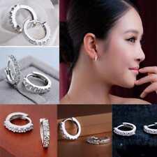 Fashion Lady's Best Jewelry White Gemstones Crystal Silver Hoop Earrings