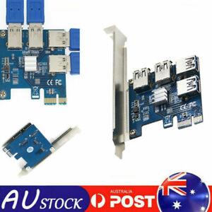 4 Ports PCIe Riser Adapter Board PCI-E 1x to 4 USB 3.0 PCI-E Rabbet GPU