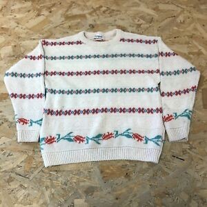 Womens Vintage Knitted Jumper Pullover Size 10 UK Images Cream B6062