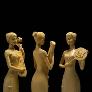 Cute Classical Beauty Sculpture Three Beauty Ladies Wood Carving Home Decor