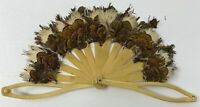 Antique! FEATHER & PLASTIC Spoke Small HAND FAN Doll Size Collapsable