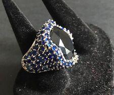 Designer Noir NYC Big Blue Round Stone Cz Cocktail Bauble Pave Ring Sz 6.5