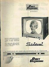 J- Publicité Advertising 1958 Le Televiseur Sidéral Ribet Desjardins