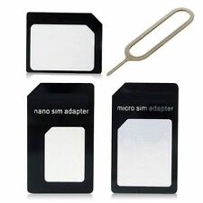 3 IN 1 PACK MICRO NANO STANDARD SIM CARD ADAPTERS FOR IPHONE 6,6 PLUS,5S,5C,4G/S