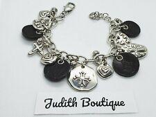 BRIGHTON Cross Heart Amulet Cross Disc Leather Charm  Bracelet