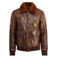 Polo Ralph Lauren Mens Vintage Leather Shearling Distressed G-1 Bomber Jacket