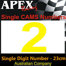 CAMS Window Number 2 Sticker - Single Number 23cm - Race Rally Drift - Yellow