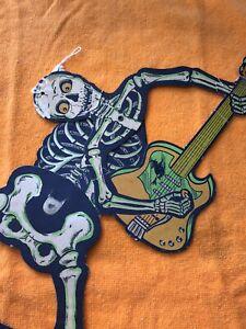 Vintage Halloween Beistle Jammin'Skeleton & Guitar Cardboard-Jointed 1960's???