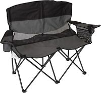 Collapsible Double Folding Chair Outdoor Sports Camping Love Seat with Arm Gray