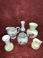 "VINTAGE LOT OF 6 MINI POTTERY PORCELAIN VASES & PITCHERS  1.25"" TO 3"" Tall"