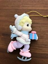 "Precious Moments Pink Purple Girl Ice Skater Holiday Ornament 3.5"" 1995 No Box"