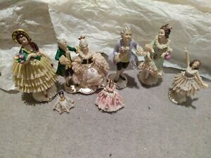 7 German Made Dresden Porcelain Figurines