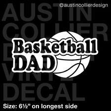 "6.5"" BASKETBALL DAD vinyl decal car window laptop sticker - school team sports"