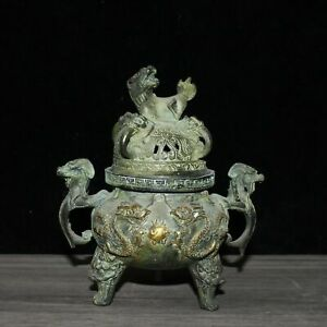 """4.7"""" Collect Chinese Fengshui Bronze Gild Dragon Ears Tripodia Incense Burner"""