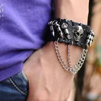 Men Leather Bullet Skull Wristband Bracelets Fashion Punk Rock Bangle for Men