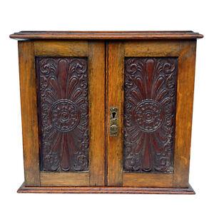 Antique Arts & Crafts Oak Carved Tobacco Humidor Cabinet w/ Pipe Holder