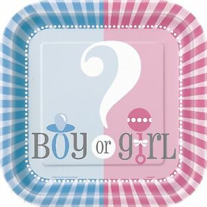 Gender Reveal Baby Shower Party Decorations Banners Tableware Blue Pink Games